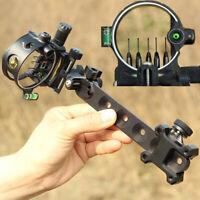 Bogenschießen Visier Bogenvisier 5 Fiber Optik Pins Compoundbogen Compoundvisier