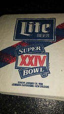 Miller Lite Beer  Bar Drink Coasters Advertising     SUPER BOWL XXIV    1990 NFL