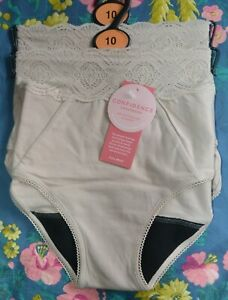 WOMENS M&S CONFIDENCE ANTI LEAK FULL BRIEF KNICKERS 2 PAIR SIZE 10 ALMOND - BNWT