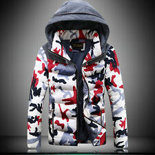 A260 Men's Warm Camo Collar Hooded Parka Winter Thicken Coat Outwear Down Jacket