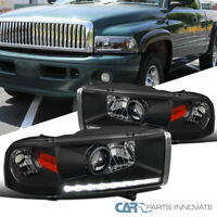 For Dodge 94-01 Ram 1500 2500 3500 Black Pickup LED Strip Projector Headlights