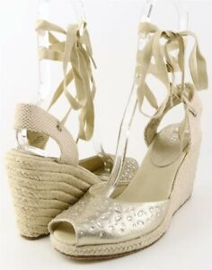 $80 ENZO ANGIOLINI AVIOR Light Gold Designer Lace Up Espadrille Wedges 7.5