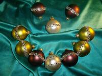 ~ 10 alte Christbaumkugeln Glas braun grün hell gold Borte Weihnachtsbaumkugeln
