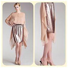 new $295 dkny rose gold sequin silk  dress skirt M