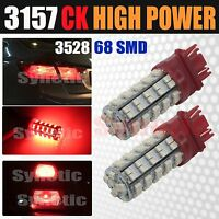 2x 3157 SRCK Socket 68 SMD Red Brake Tail / Parking Turn Signal LED Light Bulbs