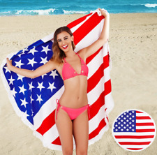 South Beach American USA Liberty Print Beach Towel Round Fringed Festival Picnic