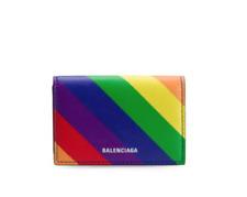 NIB Balenciaga Leather Ville Mini Colorful Logo Cardholder Wallet