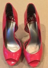 FERGALICIOUS EILEEN Red Patent High Heel Platform Peep Toe Red Shoes Sz 6.5
