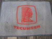 Tecumseh vintage advertising floor carpet store entryway mat 35x24 1970s worn