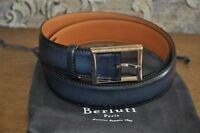 Authentic New Berluti Navy Blue Classic Calf Leather Belt 35 mm,size 120/46
