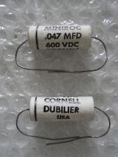 "1 x .047 uf @ 600 vdc Cornell Dubilier ""Miniroc"" Mylar Tone Capacitors! 1960s!"