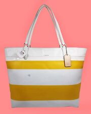 COACH 30511 Sunglow & White STRIPES PVC & Leather Tote Bag Msrp $198