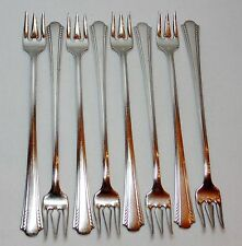 8 Vtg COCKTAIL SEAFOOD FORKS Carlton Silverplate MANSFIELD by Oneida 1932 MINT