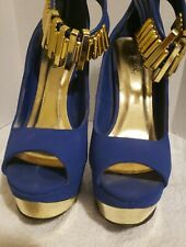 """Qupid Blue Open-toe Pump 5"""" Heels with  Gold ankle accent Shoes Size 6.5"""
