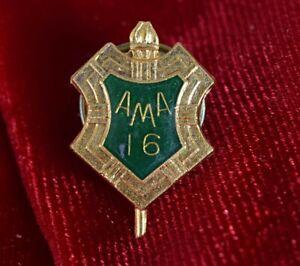 "Vintage ""AMA 16"" Shield Green Enamel Gold-Tone Lapel Pin"