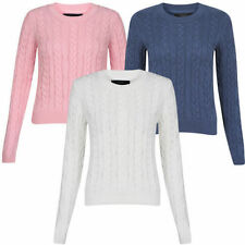 Women's Cotton No Pattern Crew Neck Waist Length Jumpers & Cardigans