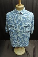 Tommy Bahama Men's size M 100% silk blue white flower floral shirt short sleeve