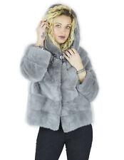 Giacca grigio chiaro pelliccia di visone con cappuccio coulisse 44 fur mex pelz