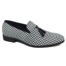 New Mens Black White Check Tassel Loafers Classic Italian Smart Shoes UK Size