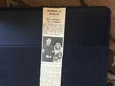 c3-2 ephemera 1950 wedding margate mr e snowdon miss j walkden