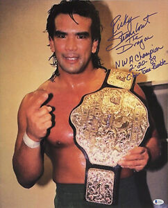 WWE RICKY STEAMBOAT HAND SIGNED AUTOGRAPHED 16X20 PHOTO WITH BECKETT COA 2 RARE