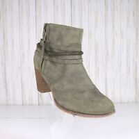 Liliana Heeled Ankle Boots Size 7.5 M Women Muted Green Faux Leather