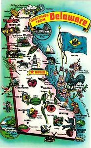 Vintage Postcard - Greetings From Delaware DE Map Front Un-Posted #5761