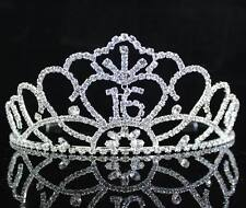 Sweet Sixteen 16 Rhinestone Tiara Crown w/ Hair Combs Birthday Party Prom T1702