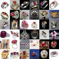 Gorgeous Women 925 Silver Turkish Handmade Ruby Ring Wedding Jewelry Size 6-10