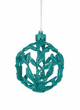 3 x Turquoise 3D Filigree Baubles Christmas Tree Hanging Decorations Teal Green