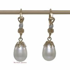 14k Yellow Solid Gold & Diamonds White Cultured Pearls Dangle Earrings TPJ