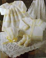 Baby/Doll Matinee Coat Knitting Pattern Vintage Dress Bootees Bonnet Shawl L1075