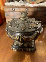 Ornate Gilt Plus Bronze Lidded Pedestal Trinket Box~Beautiful~Excellent~Gift~