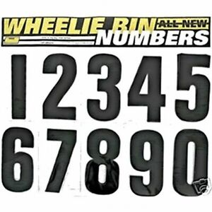 3 x BLACK GARDEN WHEELIE BIN HOUSE NUMBER VINYL LABELS SELF ADHESIVE STICKERS