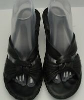 Clarks Sandals Slides Black Leather Women 9B 86780 Mules Open Toe Wedges Slip On