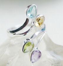 Silberring 54 - 61 Offen Handarbeit Blautopas Silber Peridot Citrin Elegant Ring