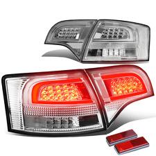 FOR 05-08 B7 A4/S4 AVANT CHROME HOUSING CLEAR 3D LED BAR BRAKE TAIL LIGHT LAMP