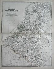 1868 LARGE VICTORIAN MAP : BELGIUM AND THE NETHERLANDS