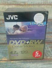 JVC 1-4X Speed DVD+RW 5 Pack Rewriteable 120 Min / 4.7GB - Brand New & Sealed