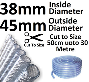 """38mm or 1 1/2"""" Clear Flexible PVC Tube Reinforced Pipe Water Pond Braided Hose"""