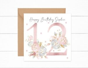 Personalised Birthday Card 12th Birthday Girls Floral Daughter Granddaughter