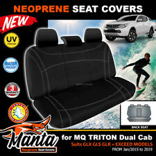 Manta Custom Neoprene Black REAR Seat Covers for TRITON MQ DUAL CAB 10/2009-19