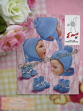 Vintage Knitting Pattern Baby's Helmet Hat & Bootees 3 Styles  ONLY £1.99 NO P&P