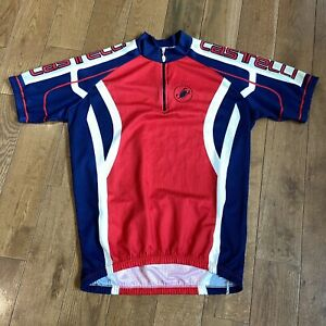 Mens Castelli 1/2 Zip Cycling Jersey Red Blue White Made in Italy XL