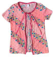 Vintage Tie Front Short Sleeve Top CoverUp Capri Beachwear Pink Floral 9/10 32
