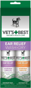 Bramton Company Vets Best EAR RELIEF WASH + DRY 2 Pak Dog Ear Care MADE IN USA