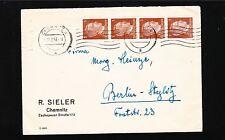 Germany Chemnitz R. Sieler Hitler Head Strip 4x3p 1943 Cover to Berlin 1t