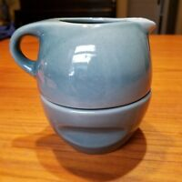 Russel Wright by Oneida Modern Green-Blue Stacking Creamer Sugar Stoneware
