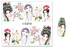 Chinese Opera Women Nail Art Water Transfer Decal UV Acrylic Polish Tips Design