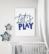 Let's Play Navy & White Bold Print Baby Nursery Kids Room Wall Art Picture Gift